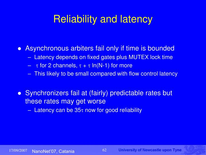 Reliability and latency