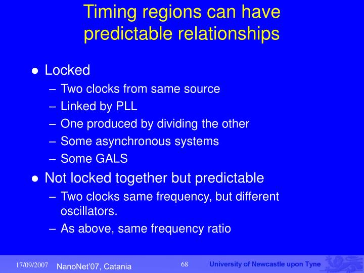 Timing regions can have predictable relationships