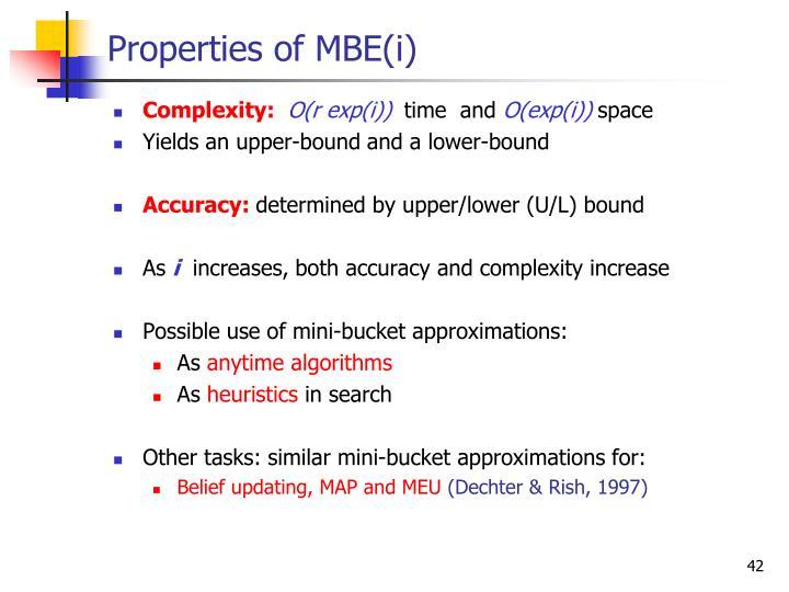 Properties of MBE(i)