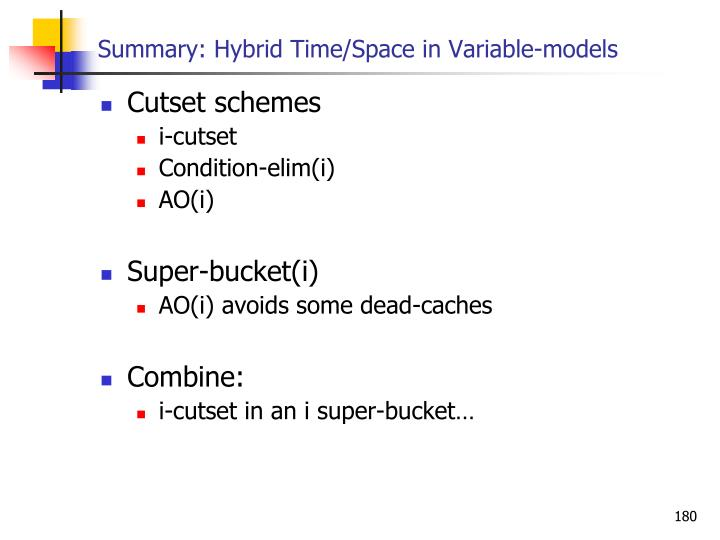 Summary: Hybrid Time/Space in Variable-models