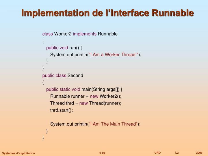 Implementation de l'Interface Runnable