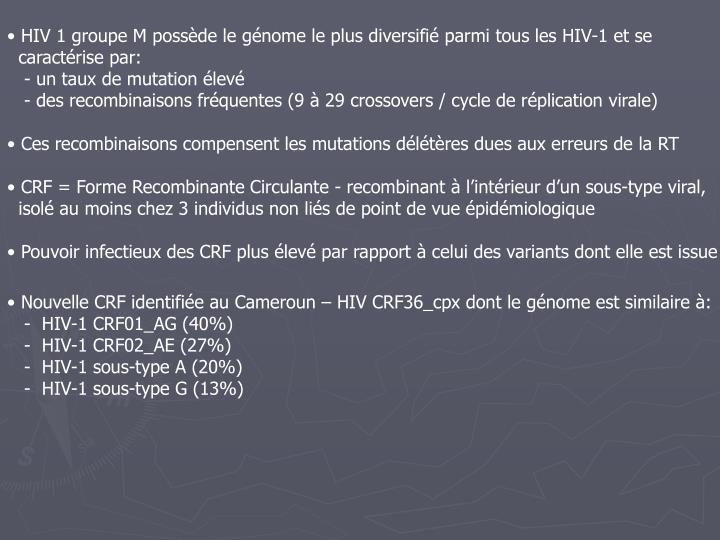 HIV 1 groupe M possède le génome le plus diversifié parmi tous les HIV-1 et se