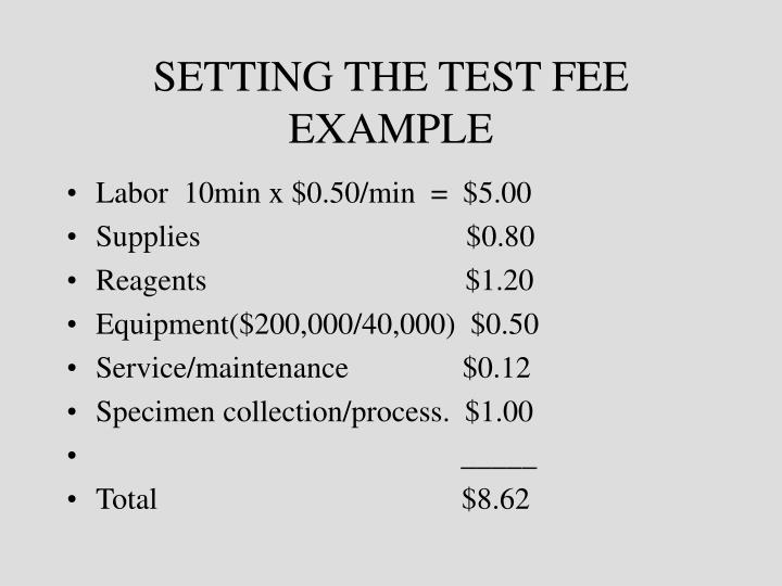 SETTING THE TEST FEE EXAMPLE