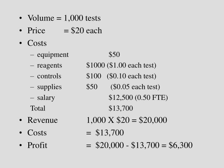 Volume = 1,000 tests