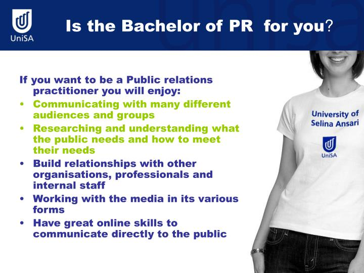 Is the Bachelor of PR  for you