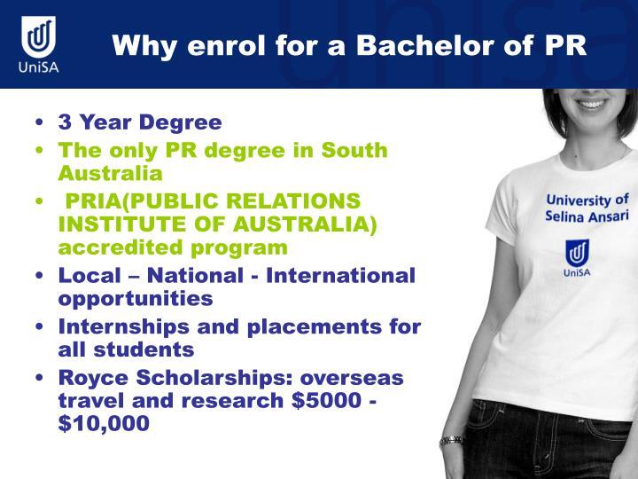 Why enrol for a bachelor of pr
