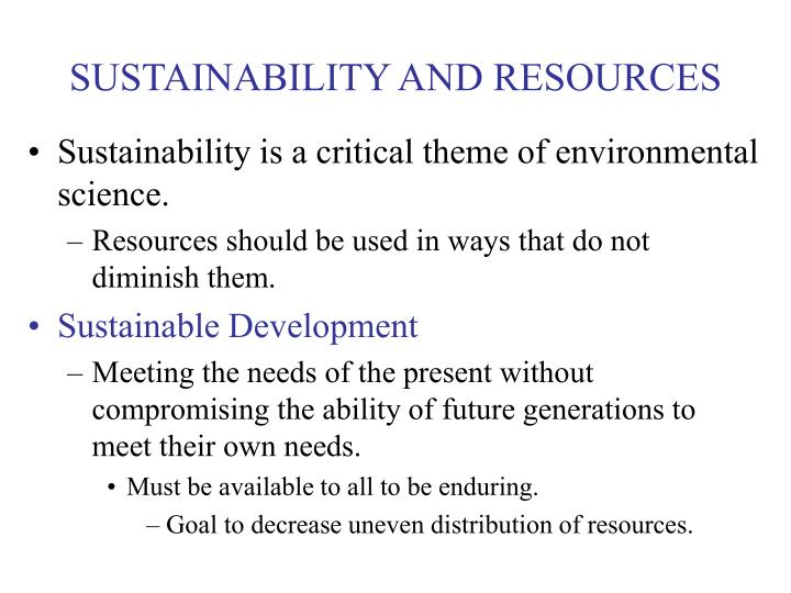 SUSTAINABILITY AND RESOURCES