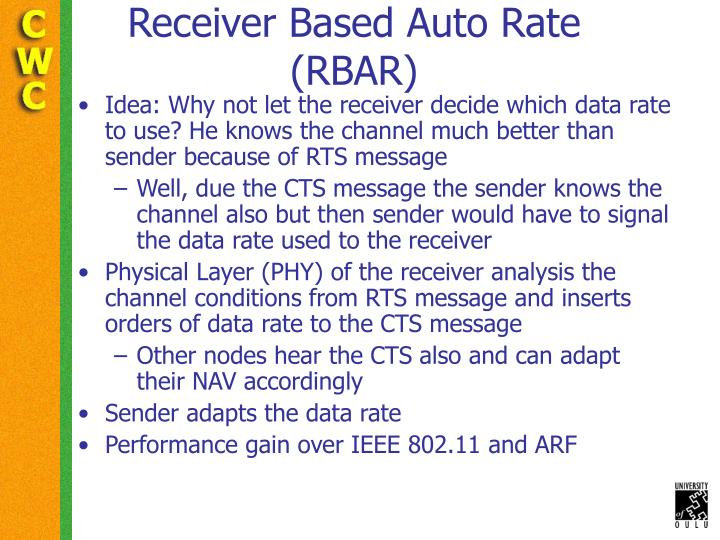 Receiver Based Auto Rate  (RBAR)