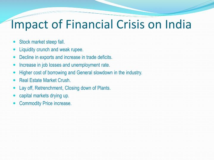 Impact of Financial Crisis on India