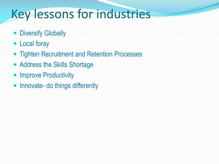 Key lessons for industries