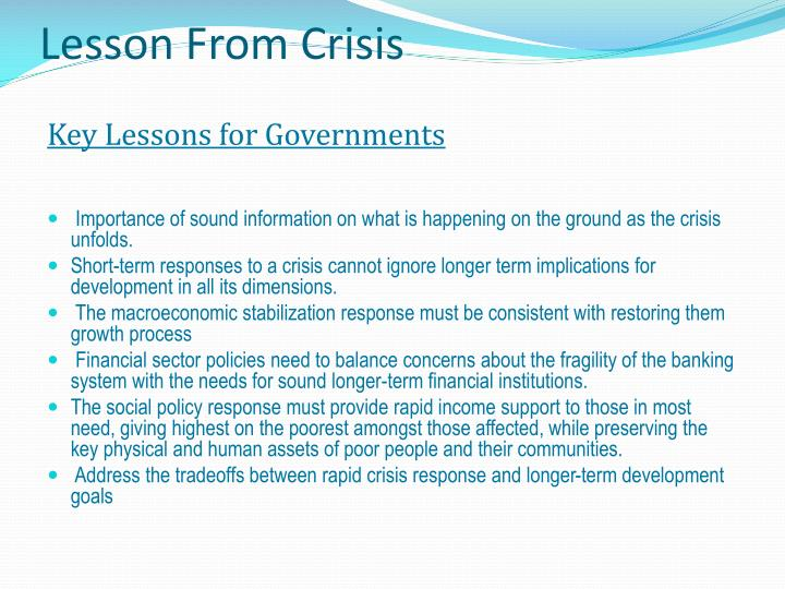 Lesson From Crisis