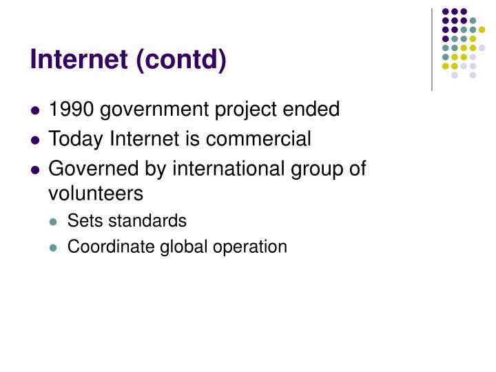 Internet (contd)