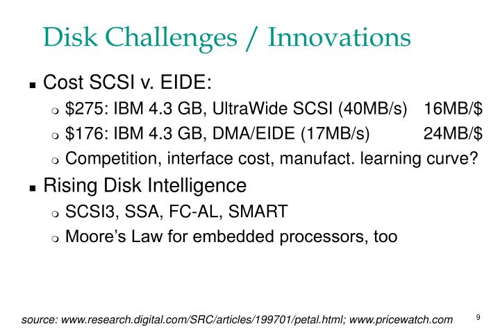 Disk Challenges / Innovations