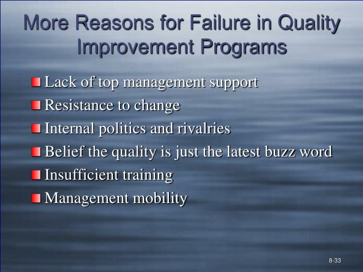 More Reasons for Failure in Quality Improvement Programs