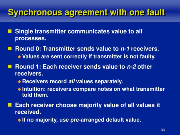 Synchronous agreement with one fault