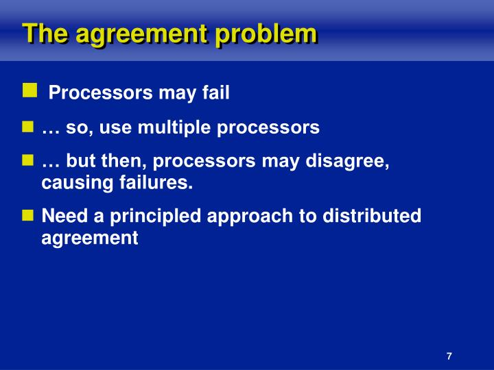 The agreement problem