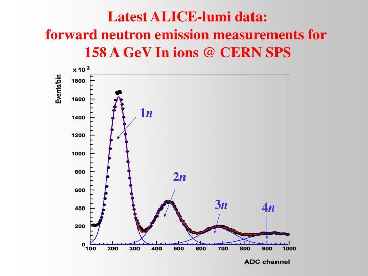 Latest ALICE-lumi data: