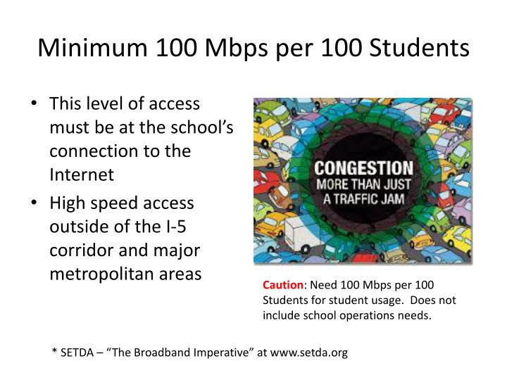 Minimum 100 Mbps per 100 Students
