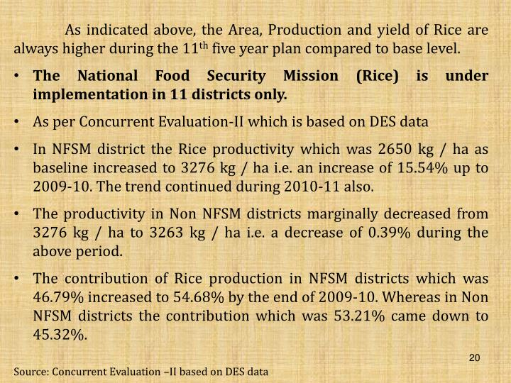 As indicated above, the Area, Production and yield of Rice are always higher during the 11