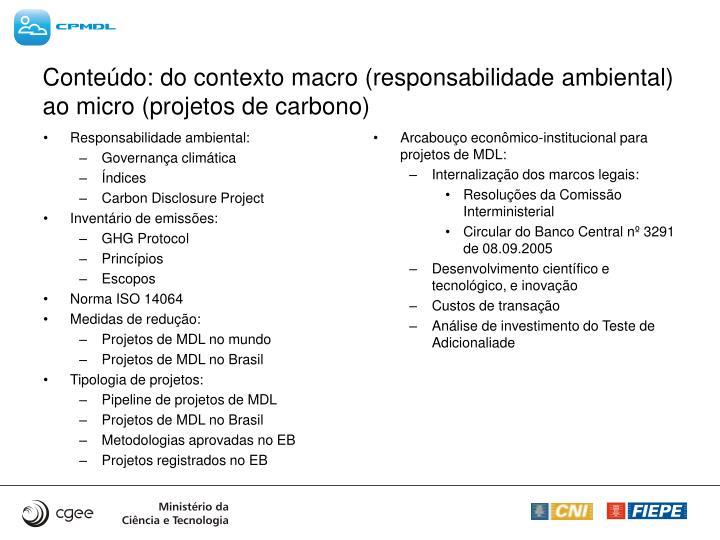 Conte do do contexto macro responsabilidade ambiental ao micro projetos de carbono