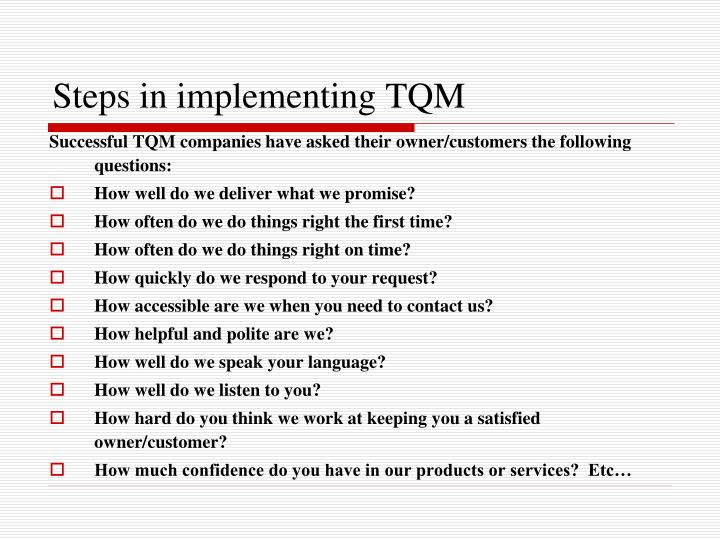the challenges and obstacles of tqm implementation Tqm successfully for a number of years and reaping  with help of analysis the challenges are found out for implementation of total quality management and.
