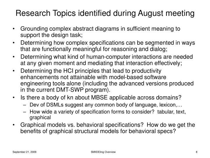 Research Topics identified during August meeting