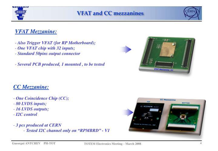 VFAT and CC mezzanines