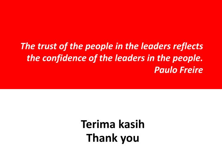 The trust of the people in the leaders reflects the confidence of the leaders in the people.