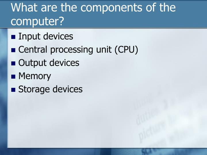 What are the components of the computer?