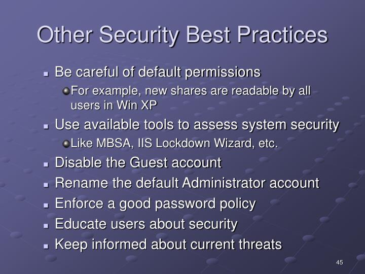 Other Security Best Practices
