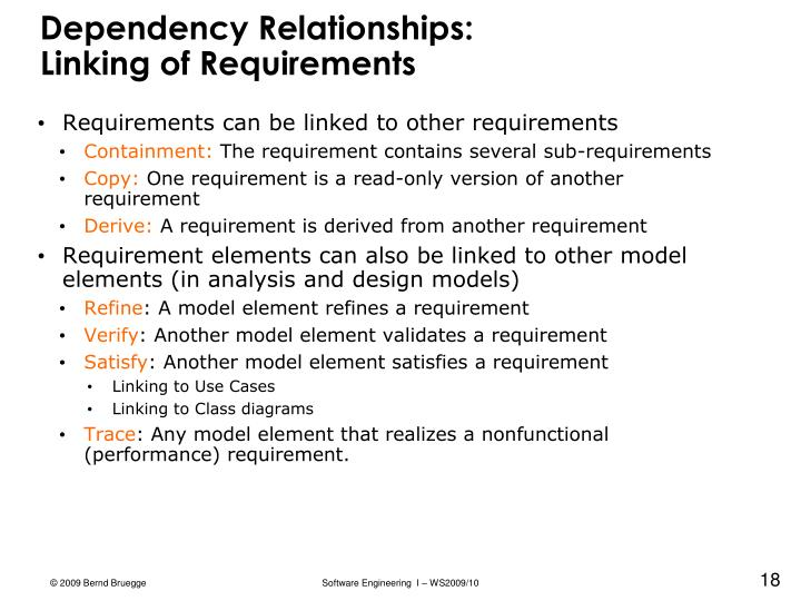 Dependency Relationships: