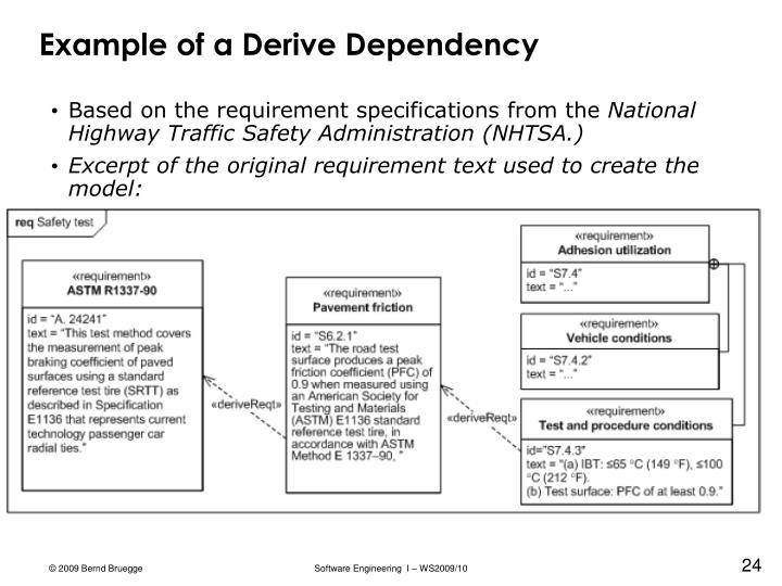 Example of a Derive Dependency