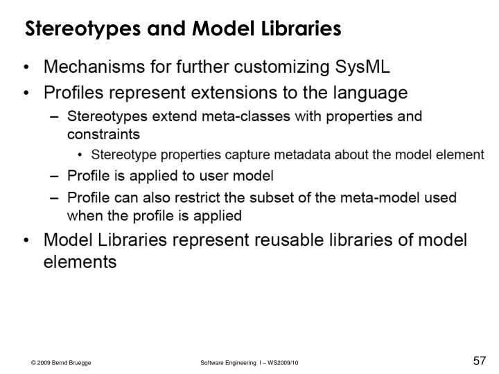 Stereotypes and Model Libraries