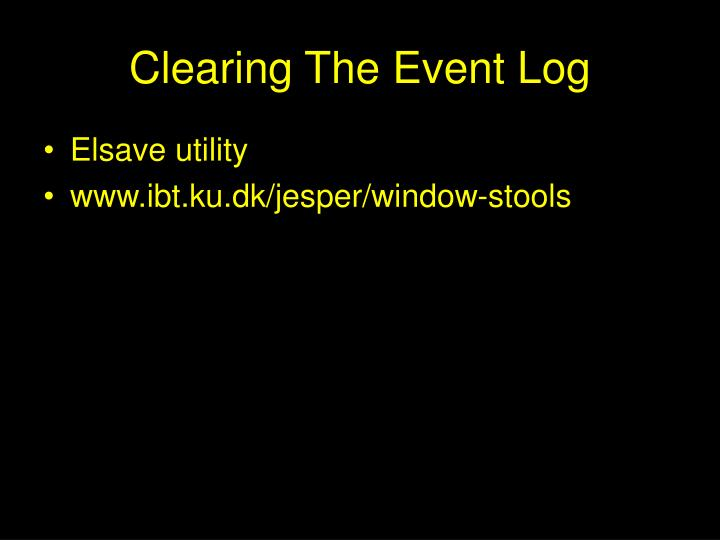 Clearing the event log