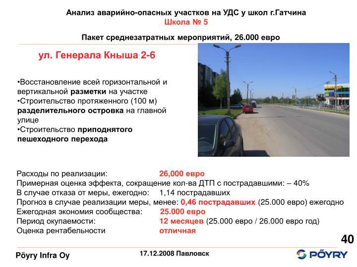 Анализ аварийно-опасных участков на УДС у школ г.Гатчина