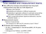 time needed and measurement teams