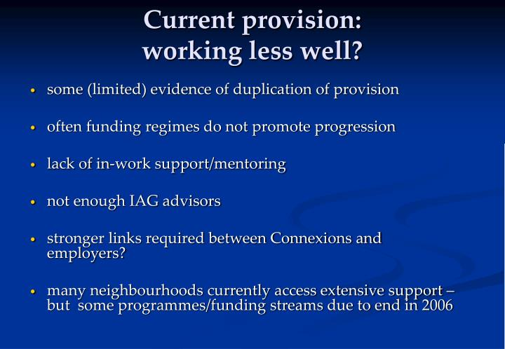 Current provision: