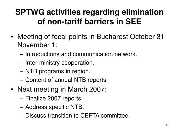 SPTWG activities regarding elimination of non-tariff barriers in SEE