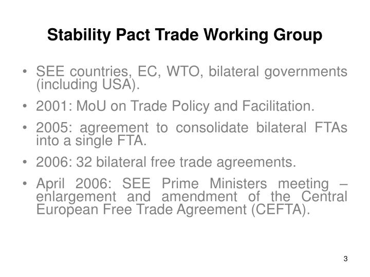 Stability pact trade working group