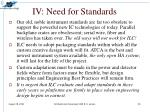 iv need for standards