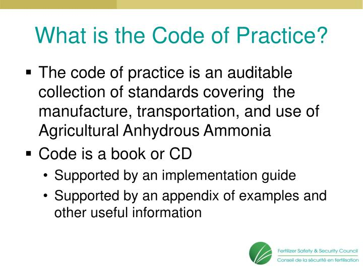 What is the code of practice