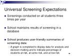 universal screening expectations