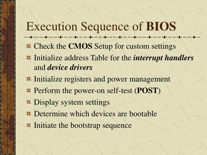 Execution Sequence of