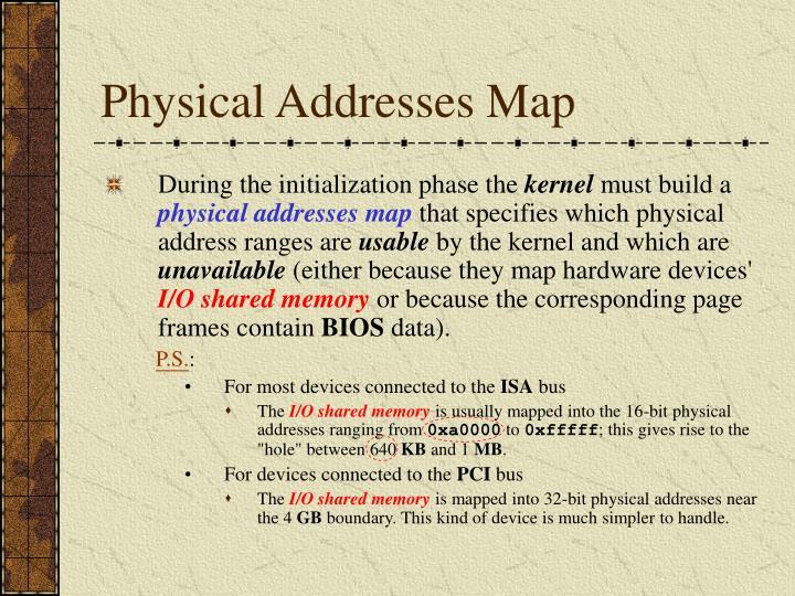 Physical Addresses Map