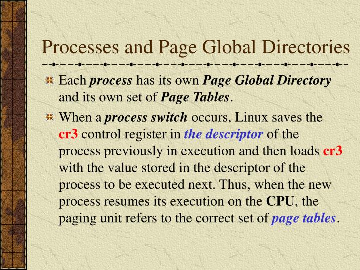 Processes and Page Global Directories