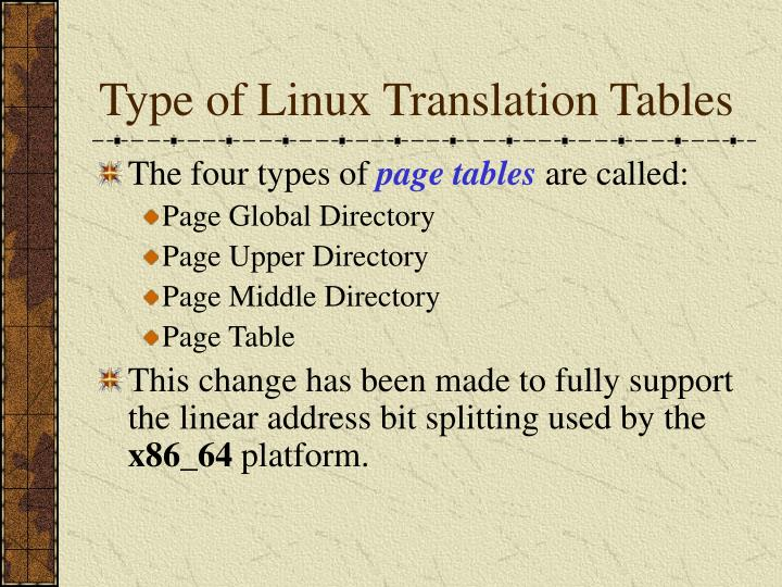 Type of Linux Translation Tables