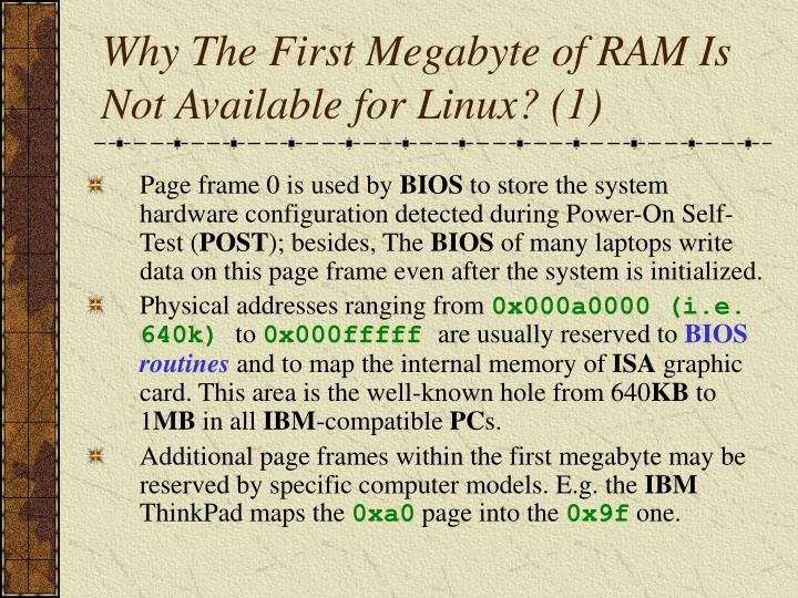 Why The First Megabyte of RAM Is Not Available for Linux? (1)