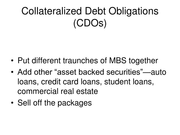 Collateralized debt obligations cdos