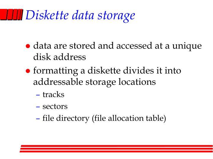 Diskette data storage