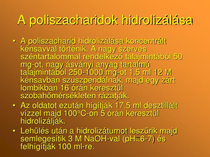 A poliszacharidok hidrolizálása